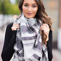 Love to Layer Classic Plaid Blanket Scarf (Black & White)