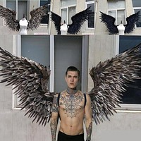 white/black large angel wings feathers catwalk shows cosplay props