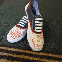 Nautical Shoes by PaintItBetter on Etsy
