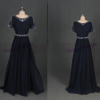 2014 long dark navy chiffon prom dressess with pearls,elegant women dress for graduation party,cheap short sleeves holiday gowns hot.
