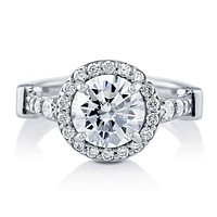 A Perfect 2CT Round Cut Russian Lab Diamond Halo Engagement Ring