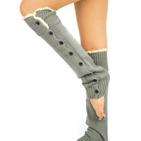 Light Grey Leg Warmers Socks Boot Toppers Lace Buttons