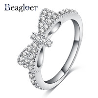 Beagloer New Elegant Bow Ring Silver Plated Micro Inlay Cubic Zirconia Ring Lovers Jewelry Accessories Ring for Girl CRI0143-B