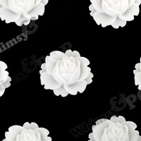WHITE 18mm Peony Flower Cabochons