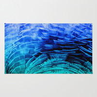 RUFFLED BLUE Area & Throw Rug by Catspaws