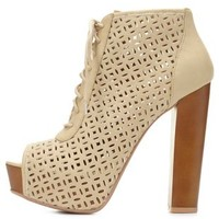Nude Laser Cut Peep Toe Booties by Charlotte Russe