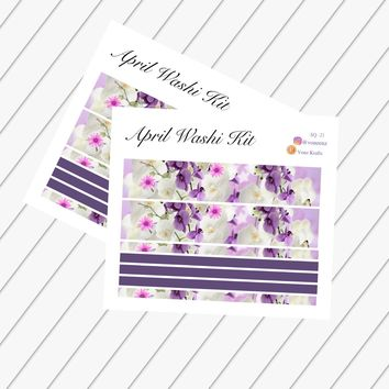 "April Washi Kit, EC Stickers, April Complete Washi Stickers, Planner Stickers For Erin Condren Deluxe Monthly Planner, 7x9"" & 8.5x11"": SQ-21"