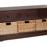 Arlington 3-Drawer Storage Unit, Cherry, Entryway Bench, Bedroom Bench