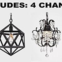 "Set Of 4 - 2 Chandelier Wrought Iron Crystal Chandeliers H14"" X W11"" And 2 Wrought Iron Polyhedron Vintage Barn Metal Pendant Chandelier Lighting H14 W12 - 2Ea-592/1 + 2Ea-2204/1"