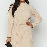 2020 autumn and winter new women's solid color sexy high waist long sleeve dress