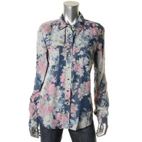 Guess Jeans Womens Tencel Floral Print Button-Down Top