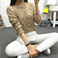 Casual Plaid O-neck Warm Wool Pullover Sweater -6 Colors-