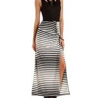Ivory Combo Knotted Mixed Stripe Maxi Dress by Charlotte Russe