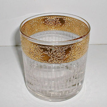 Vintage Culver Tyrol Glass Hollywood Regency Gold Rocks Glass Low Ball Mid Century Replacement Glass