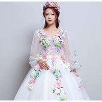 Gryffon Quinceanera Dress Full Sleeve V-neck Party Prom Solo Ball Gown Sweet Floral Print Host Quinceanera Dresses Plus Size