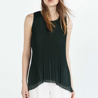 SIMPLE - Popular Fashionable Summer Beach Holiday Chiffon Round Necked Sleeveless T-shirt b2435