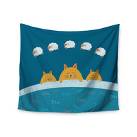 """Cristina bianco Design """"Sleeping Cats Zzzz"""" Teal Animals Wall Tapestry"""