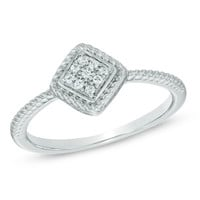 Diamond Accent Rope Frame Promise Ring in Sterling Silver - Size 7