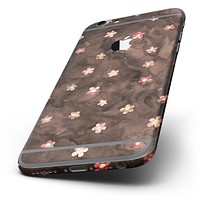 The Cute Watercolor Flowers over Brown Six-Piece Skin Kit for the iPhone 6/6s or 6/6s Plus