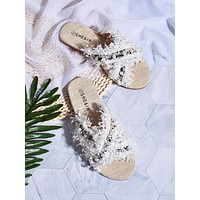 Faux Pearl Decor Cross Strap Sliders
