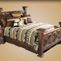 Barnwood Bed with Antler Accent Western Bedroom Furniture - Free Shipping!