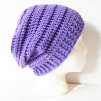 Striped Slouchy Beanie Hat in Lilac and Eggplant, ready to ship.