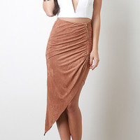 Zippered Suede Twisted Unbalanced Skirt (more colors)