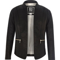 River Island Girls black leather-look open front jacket