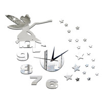 Wall Clock Mirror Living Room Angle Star Silent   silver