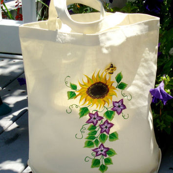 Tote Bag With A Hand Painted Yellow Sunflower and Purple Accent Flowers