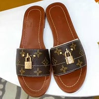 Louis Vuitton Women Leather Fashion Slipper Flats Shoes
