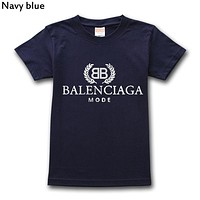 Balenciaga 2019 new tide brand solid color cotton round neck loose T-shirt navy blue
