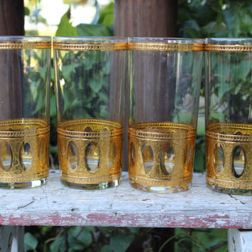 4 vintage Culver Antigua tumblers, Antigua gold high ball glasses mid century gold embossed bar cart glasses, gold filigree tall tumblers
