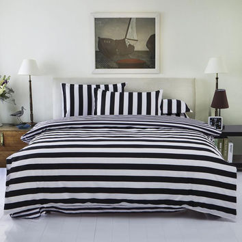 New Bedding Set Twin/Full/Queen Size Duvet Cover Set Classic Black and White Bed Sheet Sets Home Textile