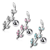 Gemmed Flower Vine Cartilage/Tragus Earring
