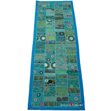 Blue Vintage Ethnic Decor Patchwork Tapestry Wall Hanging