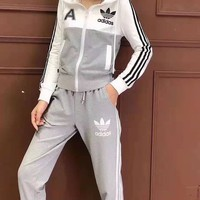 """ Adidas"" Woman's Leisure Fashion Letter Personality Printing Zipper Spell Color Long Sleeve Hooded Tops Trousers Two-Piece Set Casual Wear"