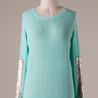 Sparkle and Shine Sequined Sleeved Sweater - Mint