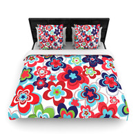 "Jolene Heckman ""A Cheerful Morning"" Blue Red Woven Duvet Cover"