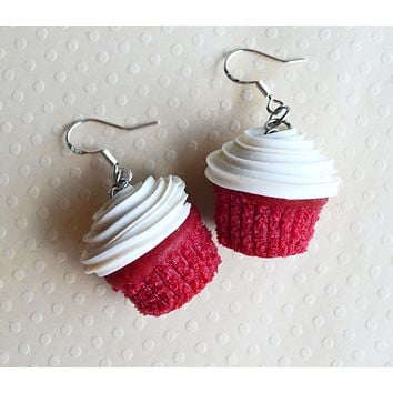 Red Velvet Cupcake Dangle Earrings