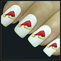 Christmas Nail Decal Santa Hat Nails 20 Water Slide Decals Stocking Stuffer