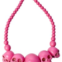 KREEPSVILLE SKULL NECKLACE PINK - Necklaces - Jewelry - Accessories - Sourpuss Clothing