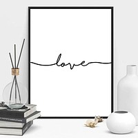 Love Sign Word Art Black and White Poster Canvas Prints Art inspirational wall modern home decor painting on the wall pictures