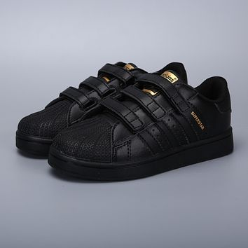 Adidas Original Superstar Black Gold Velcro Toddler Kid Shoes