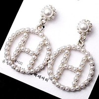 8DESS Hermes Women Fashion Pearl Ear Studs Earrings Jewelry