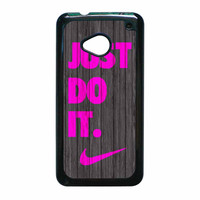 Nike Just Do It Wood Colored Darkwood Wooden Pink HTC One M7 Case