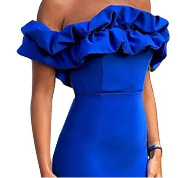 Explosive women's sexy temperament one-neck strapless hip dress