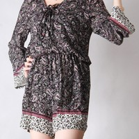 Casual V-Neck Elastic Waist Paisley Romper With Long Sleeve