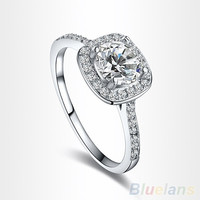 Women's 9K White Gold Plated Zircon Crystal Engagement Wedding Jewelry Ring = 5987570625