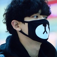 2016 New Arrival Fashion Kpop EXO Chanyeol Same Style Chan yeol Lucky Bear Black Mouth Mask  JS0177